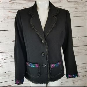 ⚡ BLAZER BLACK WITH SEQUIN ACCENTS MED PETITE